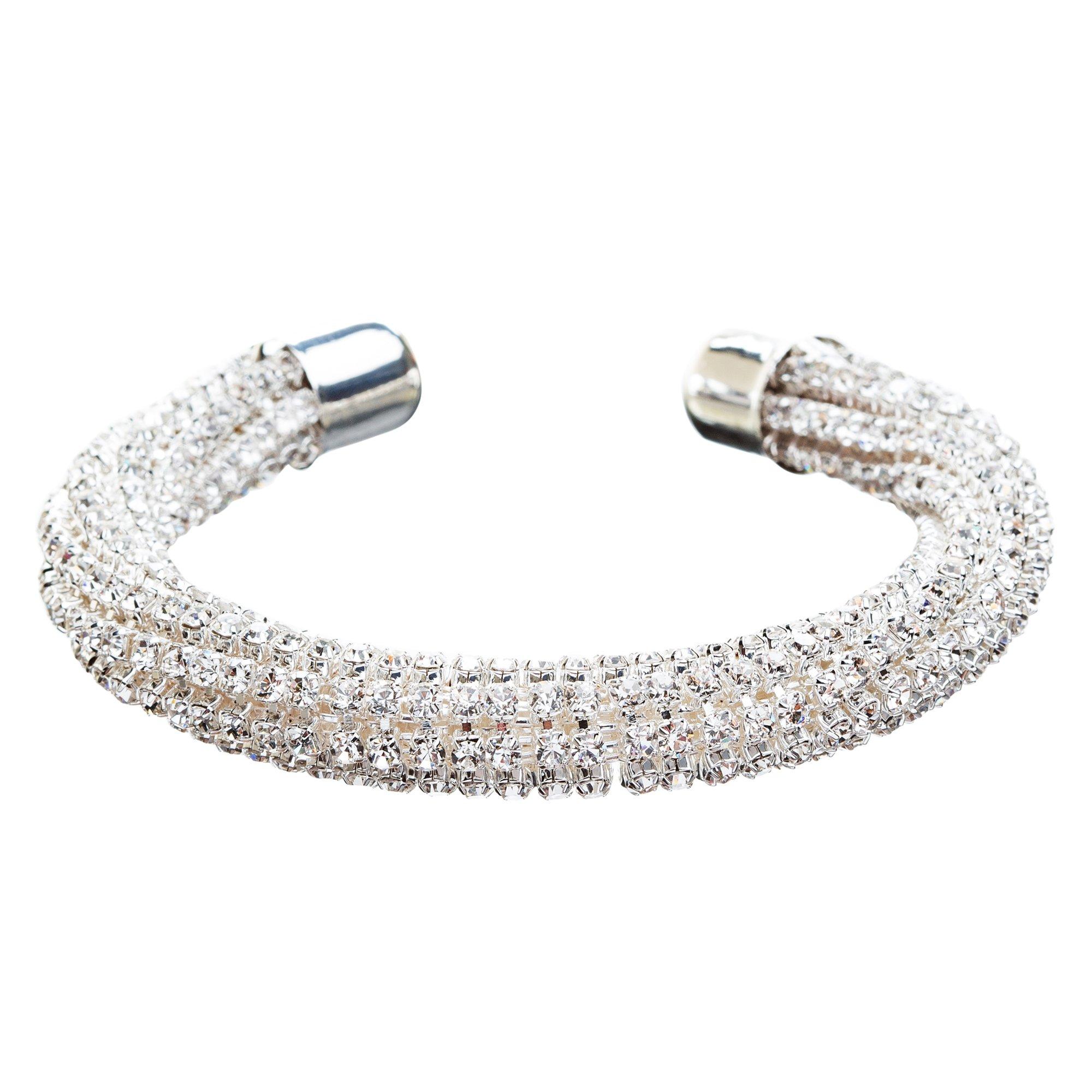ACCESSORIESFOREVER Women Bridal Wedding Jewelry Crystal Rhinestone Fashion Crafted Bracelet B415 Silver