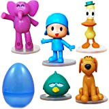 "PARK AVE 5 Pocoyo Figures with Jumbo Egg Storage, 1.5-3"" Tall Mini Figure Toys for Kids Deluxe Cupcake Cake Toppers Party Favor Decoration"