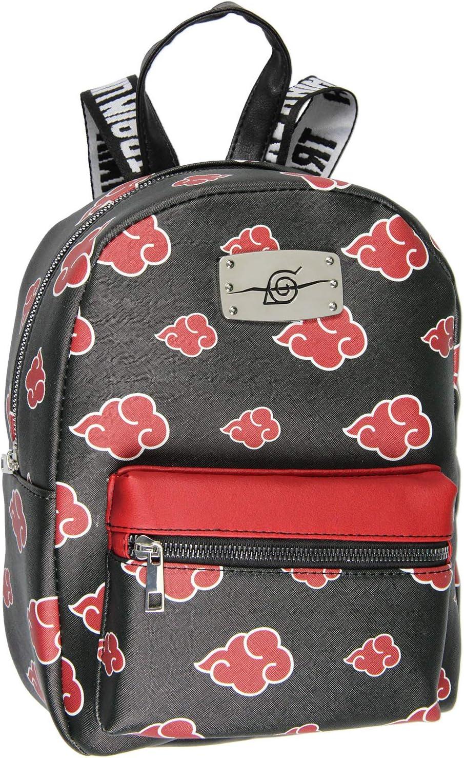 Naruto Akatsuki Sasuke Red Cloud Anti Leaf Faux Saffiano Leather Mini Backpack Bag