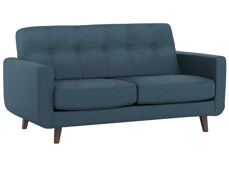 Rivet Tufted Modern Sofa, Blue – Sloane Mid-Century Modern, 64\