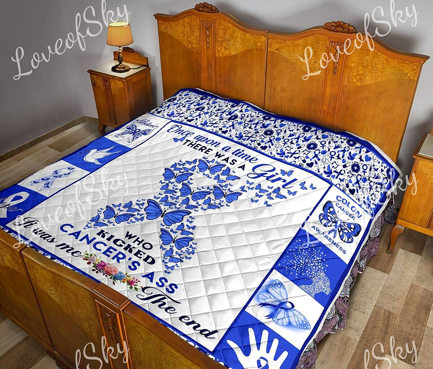 Amazon Com Loveofsky Colon Cancer Quilt Kd King Size All Season Comforter With Cotton Quilts Best Decorative Unique Banklet For Traveling Picnics Beach Trips Gifts Home Kitchen