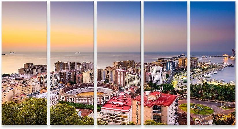 islandburner, Cuadro Cuadros Málaga España amanece en el Horizonte hacia el mar Mediterráneo Impresión Lienzo Formato Grande Cuadros Modernos SVN: Amazon.es: Hogar