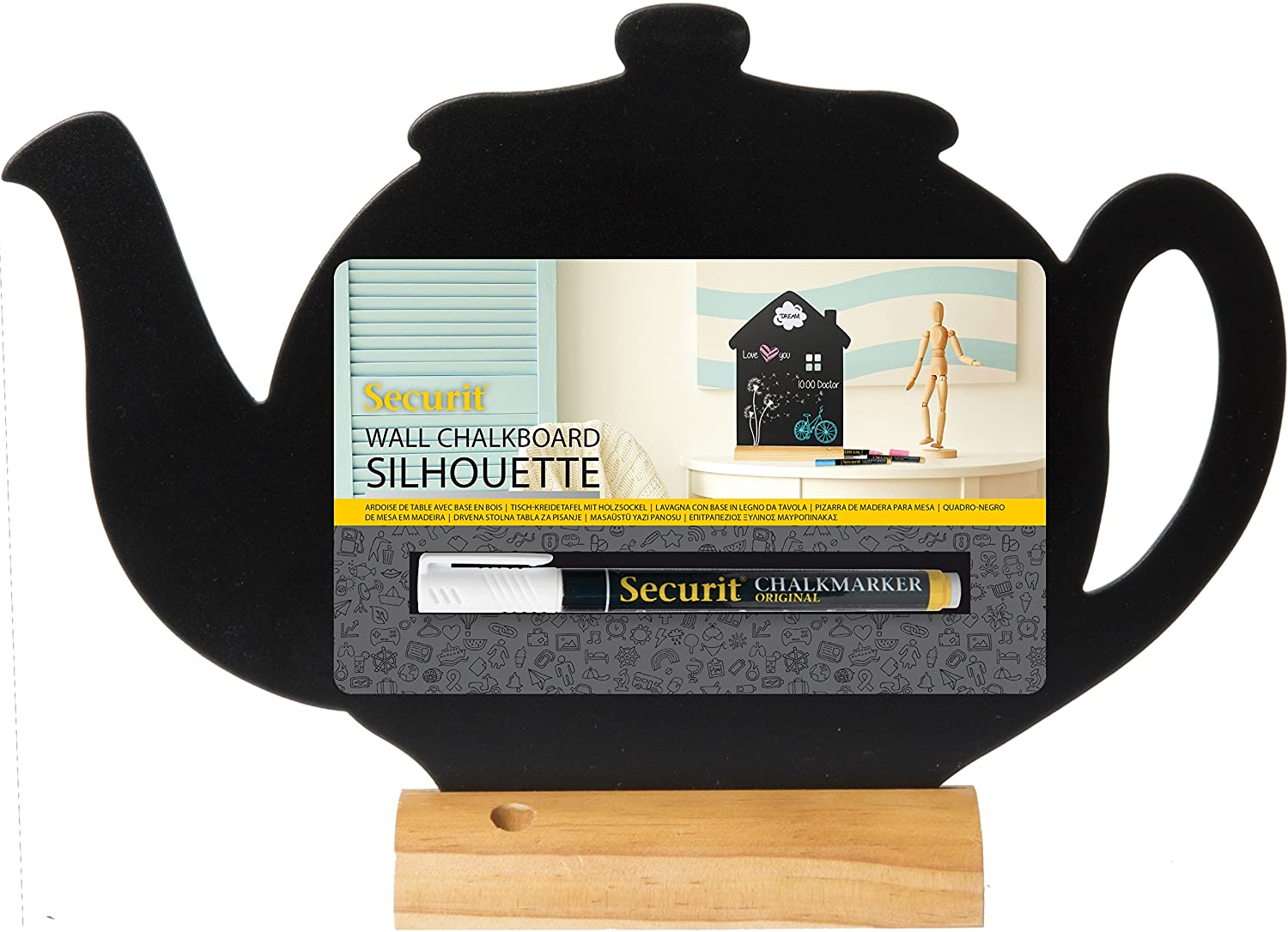 Amazon.com : Securit Silhouette Teapot Table Chalk Board ...