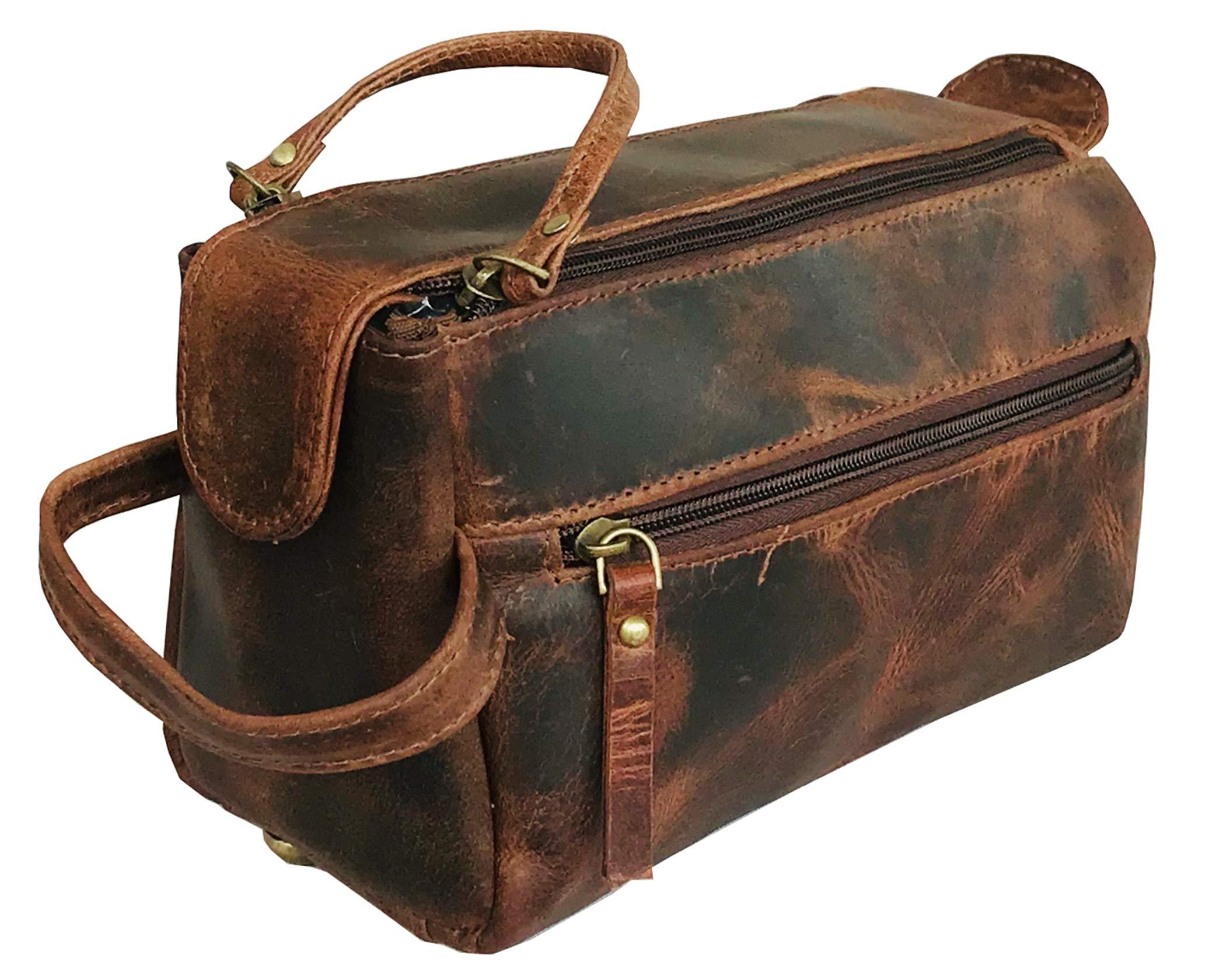 Genuine Buffalo Leather Unisex Toiletry Bag Travel Dopp Kit by Ruzioon