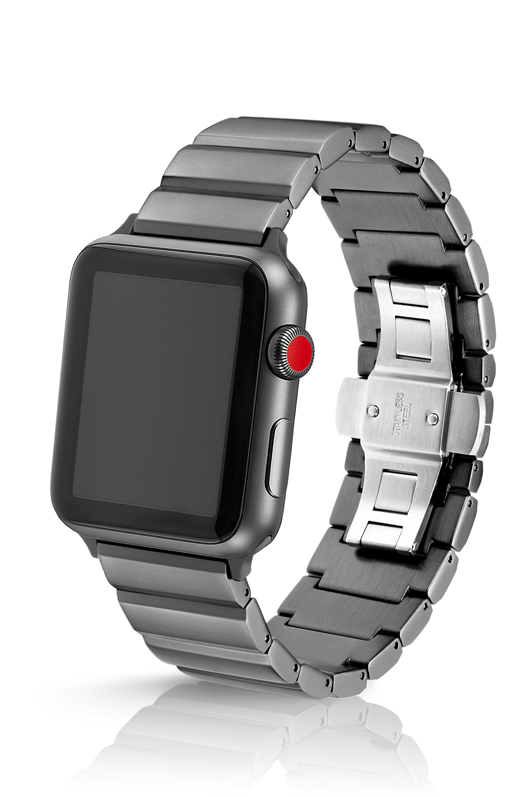 42/44mm JUUK Cosmic Grey Ligero LT Premium watch band made for the Apple Watch, using aircraft grade, hard anodized 6000 series aluminum with a solid stainless steel butterfly deployant buckle (matte)