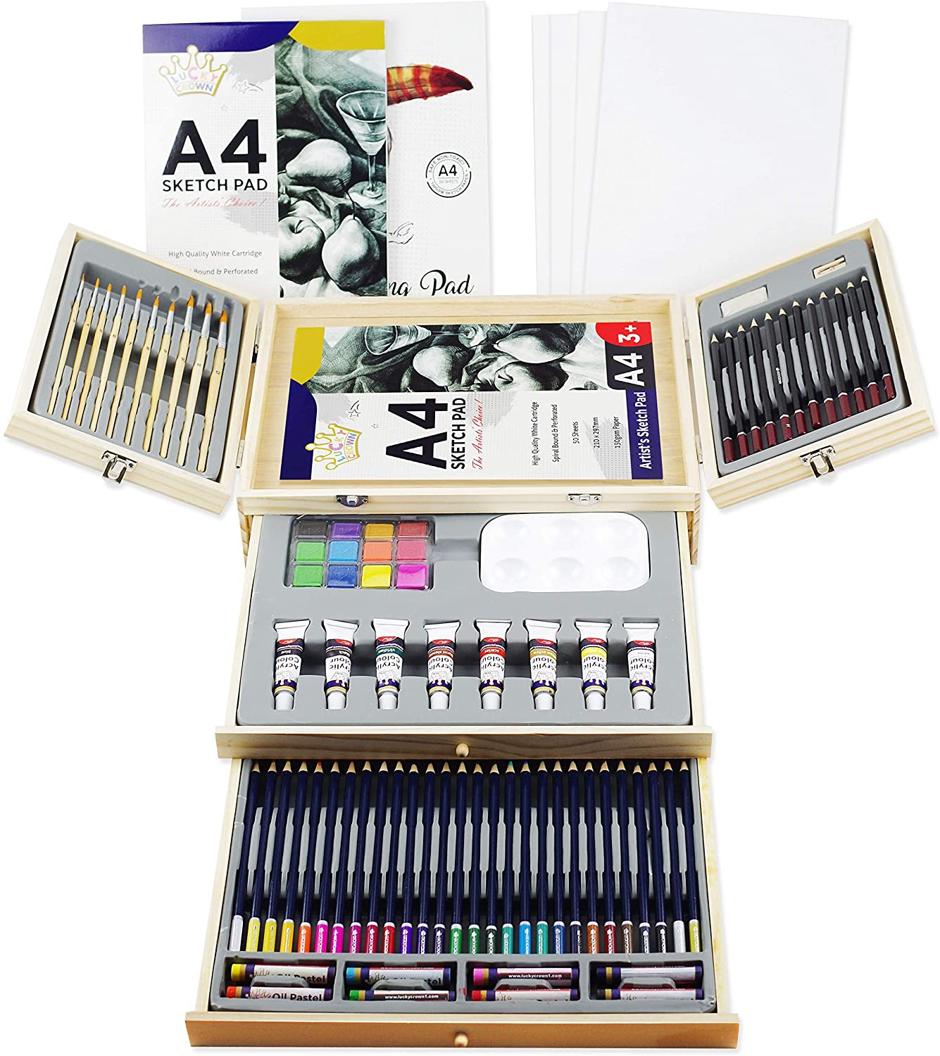 Art Supplies in Portable Wooden Case 83 Piece Deluxe Set Professional Art Set