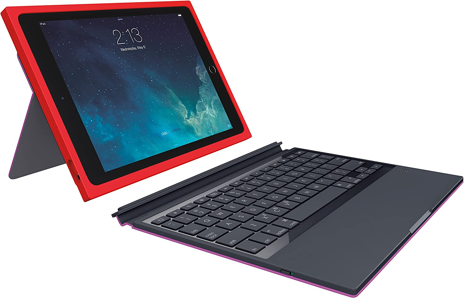 Logitech BLOK Protective Keyboard Case for iPad Air 2, Red/Violet