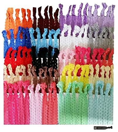 Amazon.com   Hair Ties 100 Elastic Lace Ponytail Holders No Crease Ribbon  Knotted Bands   Beauty 765e66e0edd