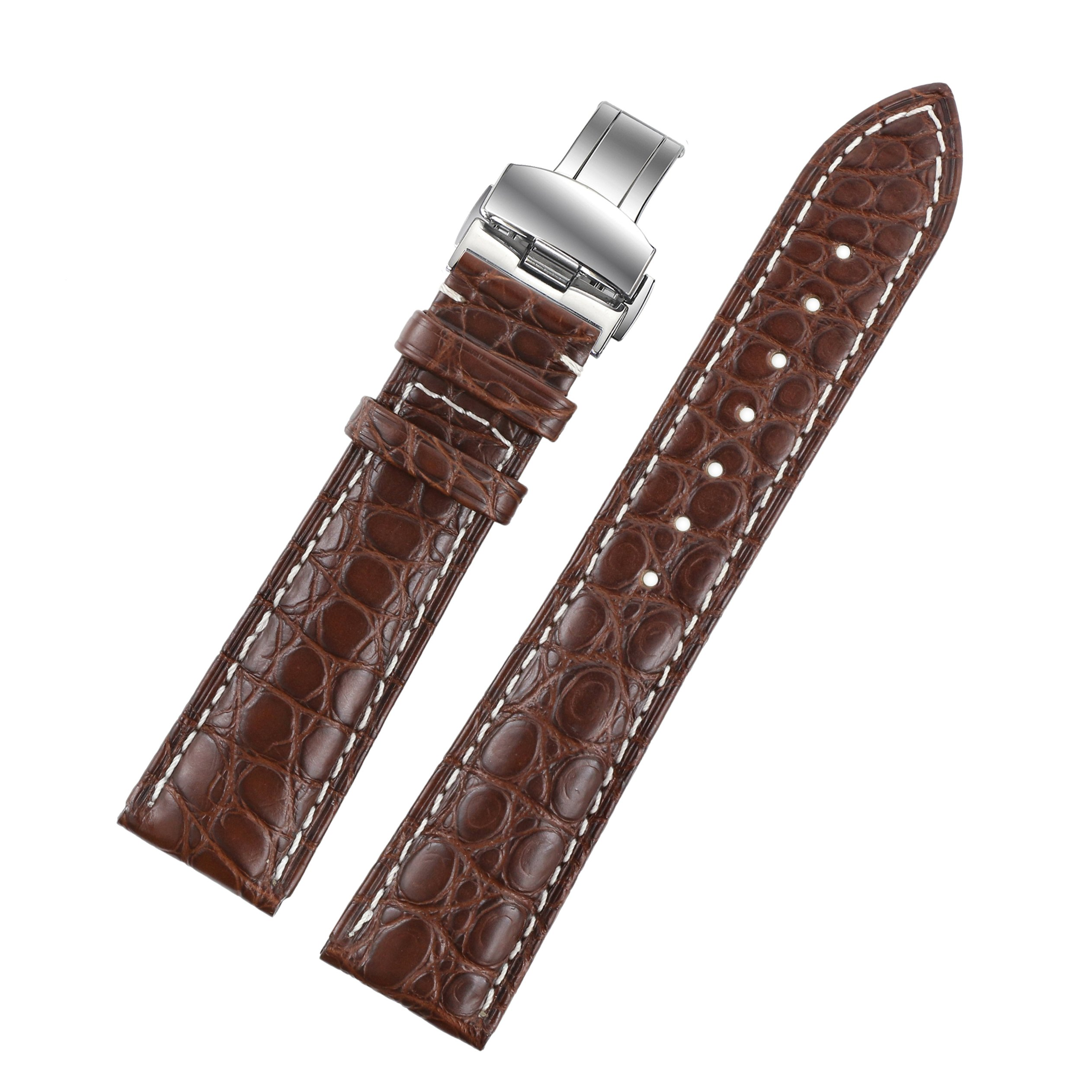 18mm Brown Watch Straps/Bands Replacement Luxury Alligator Skin Leather Handmade with White Stitching