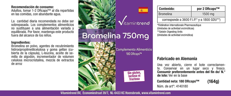 Bromelina 750mg - 180 cápsulas - Vegana - Dosis elevada ...