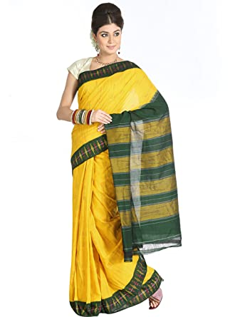 f9c08626ccb85c Cbazaar-Yellow Pochampally Cotton Saree: Amazon.in: Clothing ...