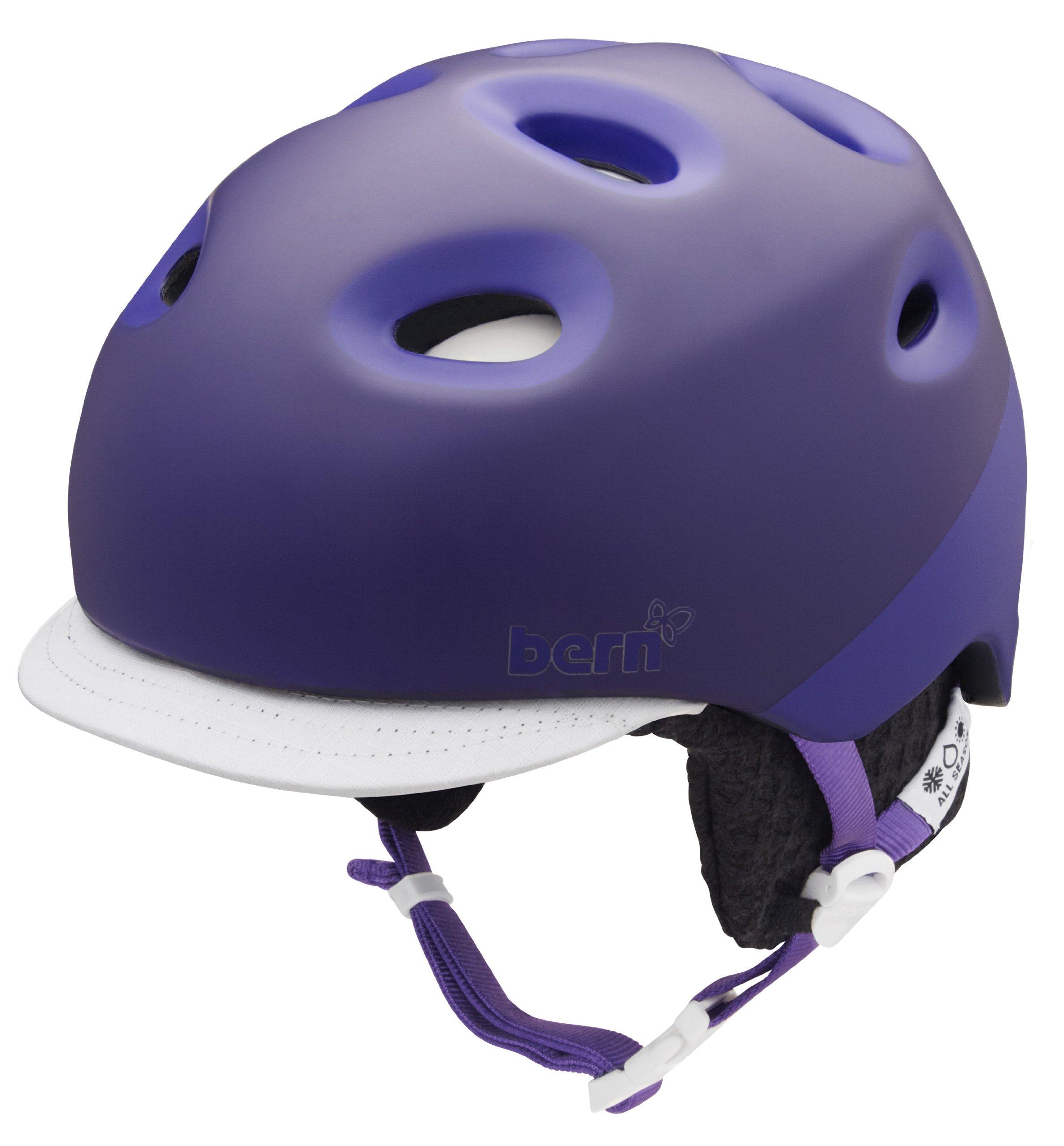 Bern Cougar 2 Tone Matte Helmet with Grey Knit (Purple, X-Small/Small)