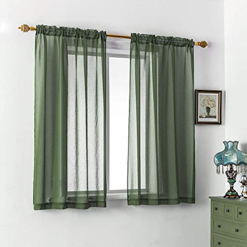 DUALIFE Solid Green Sheer Curtains 54 Inch Length,Privacy Voile Window Treatment Panels Linen Look Semi Sheer Curtain Drape