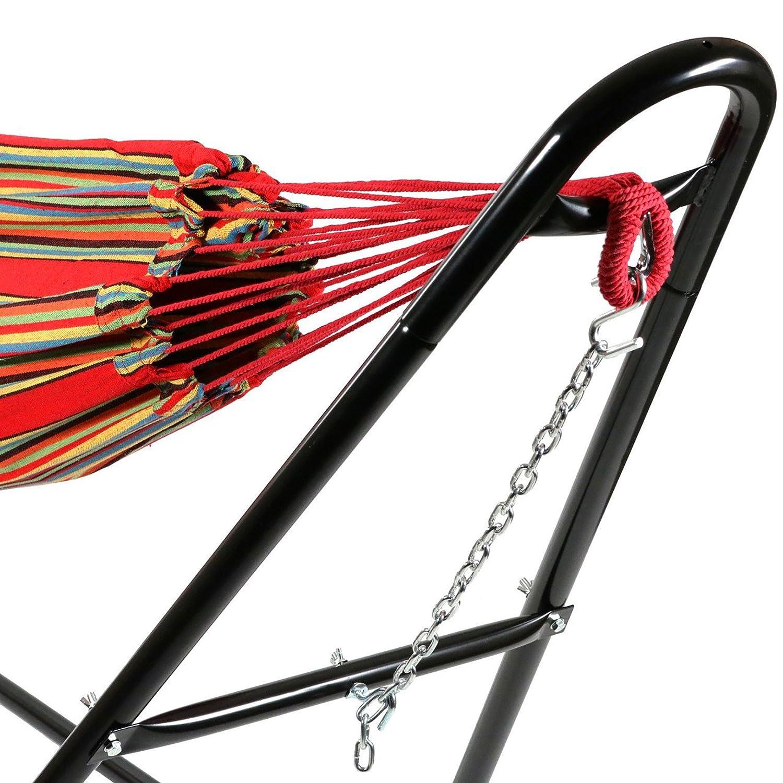 149 x 37 x 10 cm Rouge Br/ésilien Coton avec Support Type-H Hamac Storaddict SA10044-3 Lit Suspendu capacit/é: pour 2 Personnes
