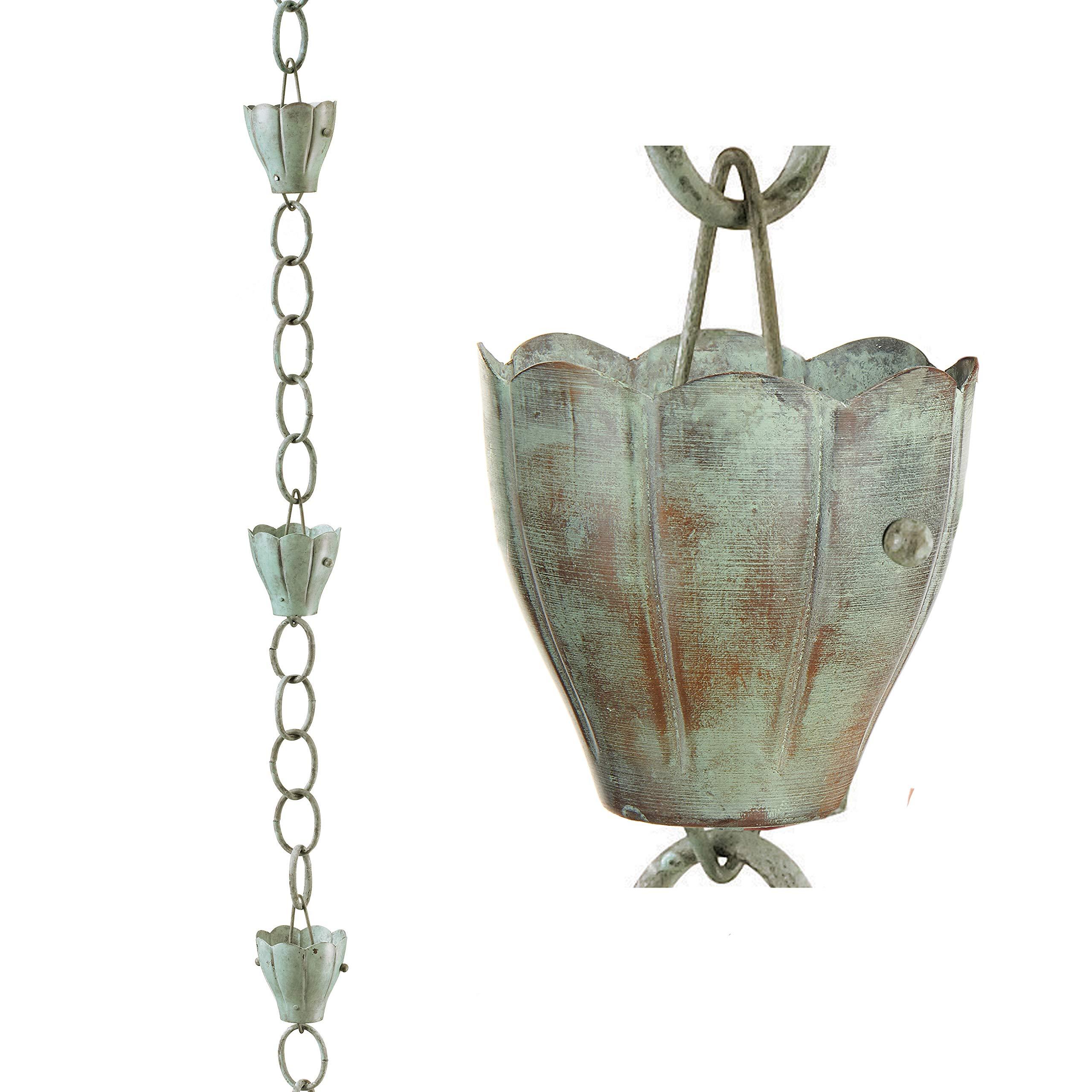 Good Directions 491V1-8 6 Cup Crocus Rain Chain, Blue Verde Copper