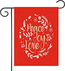 Faye Butler Winter Holiday/Merry Christmas Sweet Home Christmas Yard Outdoor Decoration/Burlap Garden Flag/12 x 18/Double Sided/Festive Jolly Elements (Peace,Love and Joy)