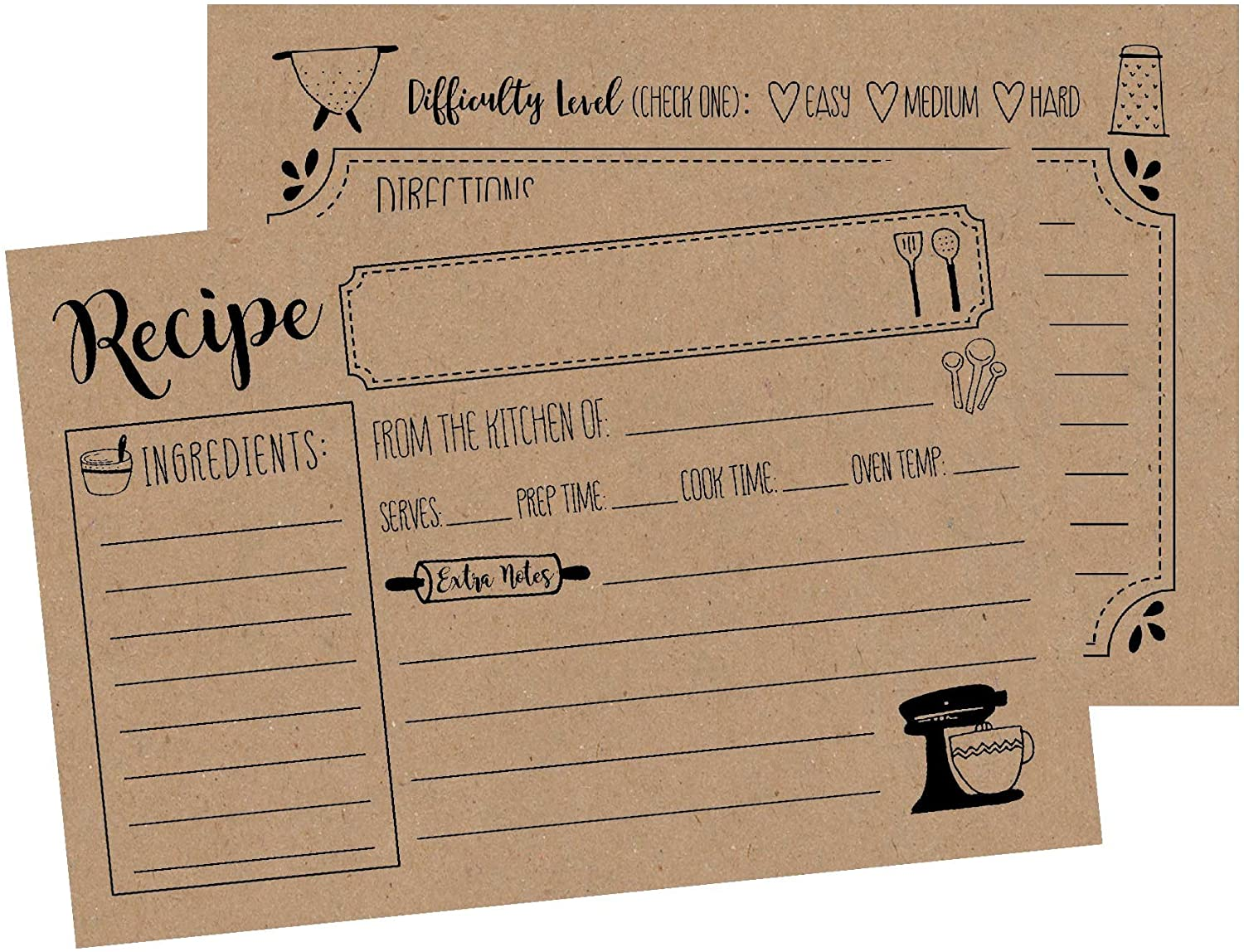 Personalized 5x8 Recipe Cards  Extra Large Blank Recipe Cards Recipe Cards