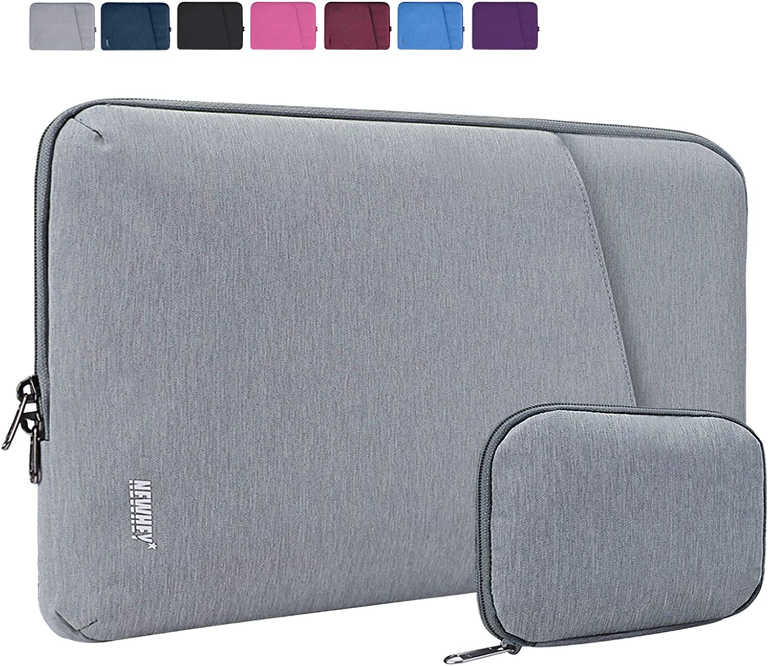 "NEWHEY Laptop Sleeve 13.3-14 Inch Computer Bag Multi-Color Choices Case, Water-Resistant Notebook Pocket Tablet Briefcase Carrying Bag with A Case,Compatible with 13""MacBook Pro and MacBook Air,Gray"