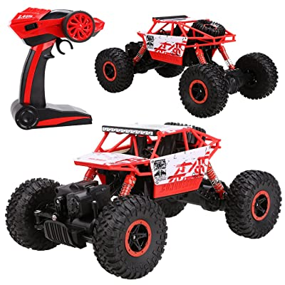 (US STOCK) Funmily RC Rock Off Road Vehicle Remote Radio Control Crawler Truck Cars with Rechargeable Battery 25KM/H 2.4Ghz High Speed 1:18 Shock-proof RC Car