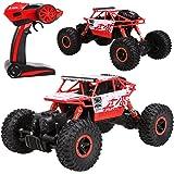 Profun 2,4 GHz 4WD Rock Crawler RC Car ferngesteuerte Geländewagen Auto, 1:18 Fernbedienung Monster Truck Fahrzeug (Rot2)