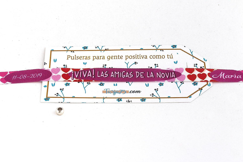 Pulseras de tela personalizadas con frases: VIVA LAS AMIGAS DE LA NOVIA | Regalo personalizado y original | Pulseras para bodas | Pulseras personalizadas para bodas: Amazon.es: Hogar