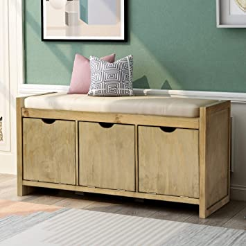Amazon.com: Storage Bench Entryway Bench With Removale Cushion And 3 Flip Lock Storage Cubbies For Living Room Entryway, Gray Wash: Kitchen & Dining