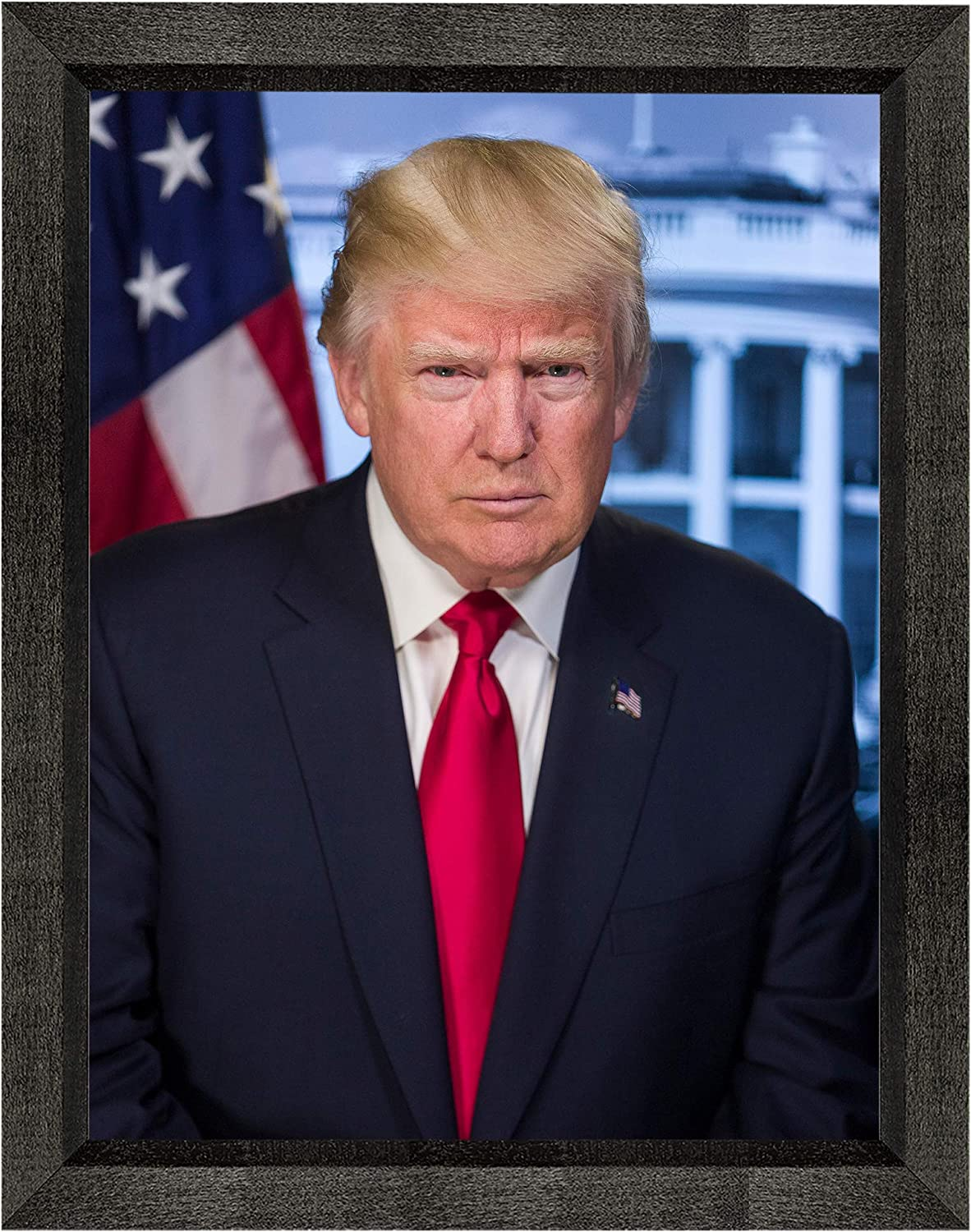 """Donald Trump Photograph in a Black Beveled Frame - Historical Artwork from 2016 - US President Portrait - (8"""" x 10"""") - Gloss"""