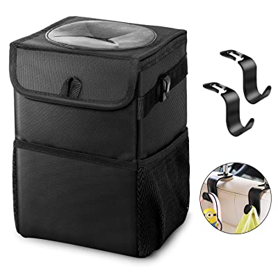 Car Trash Can - Garbage Bag with Lid Waterproof Leakproof No Smell Foldable 2 Gals Portable Rubbish Litter Bin with Storage Pockets Headrest Hook for Console/Headrest/Car Door/Glove Box: Automotive