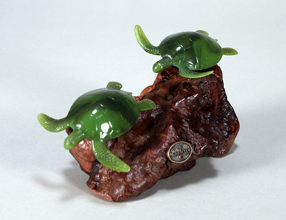 TURTLE Duo Sculpture New Direct from John Perry 5in long on Burl simulated jade
