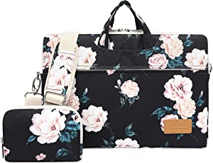 Canvaslife Peony Pattern 15 inch Waterproof Laptop Shoulder Messenger Bag for 14 Inch to15.6 inch Laptop and MacBook Pro 15 Laptop Case