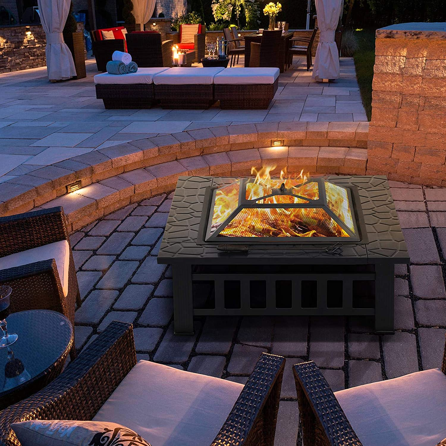 YAHEETECH 32in Outdoor Metal Firepit Square Table Backyard Patio Garden Stove Wood Burning Fire Pit with Spark Screen, Log Poker and Cover: Sports & Outdoors