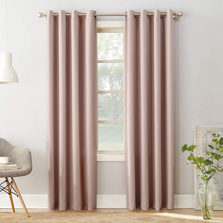 "Sun Zero 51705Barrow Energy Efficient Grommet Curtain Panel, 54"" x 95"", Blush Pink"