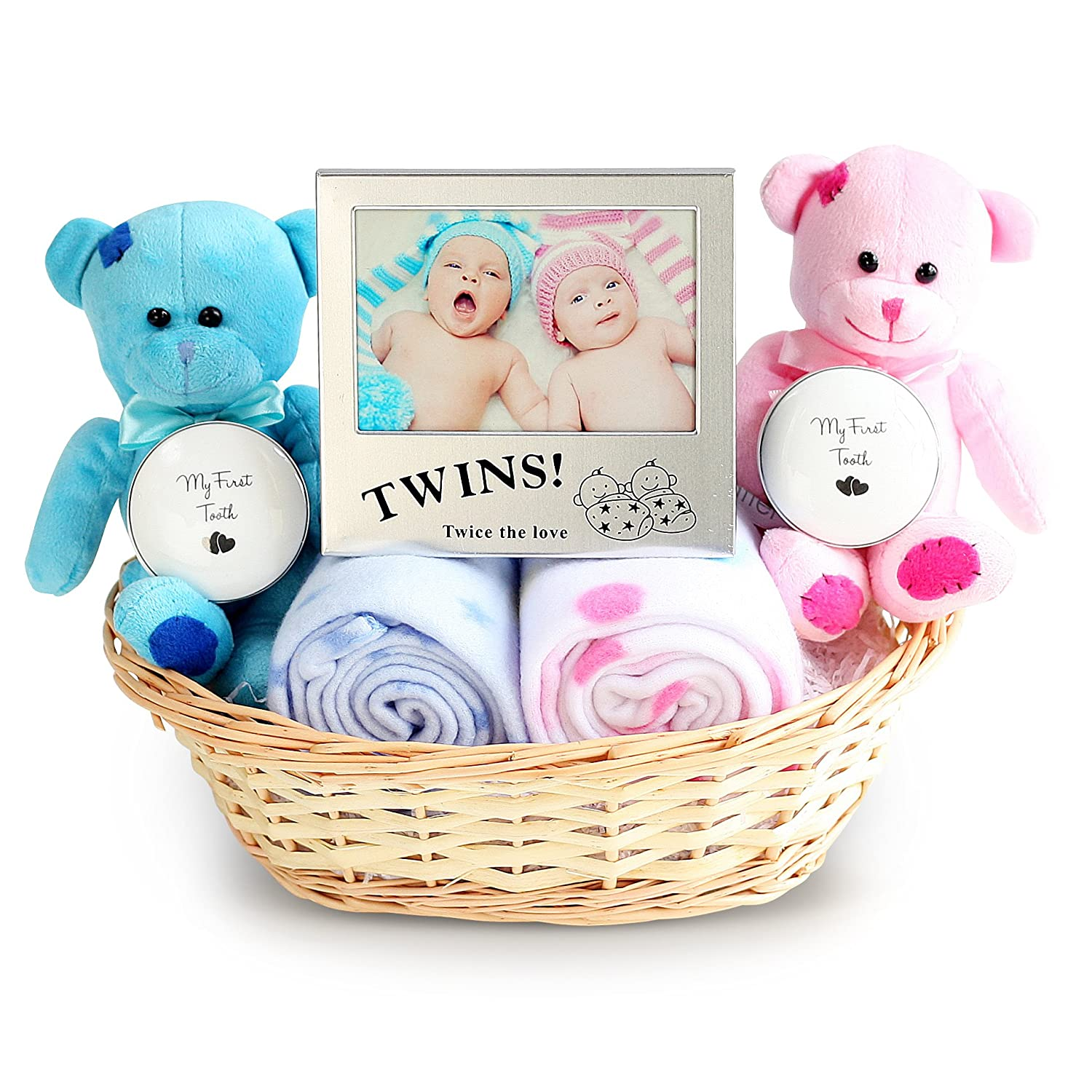 Double Deluxe Twin New Baby Gift Basket (for Twin Girls) Snuggle Feet