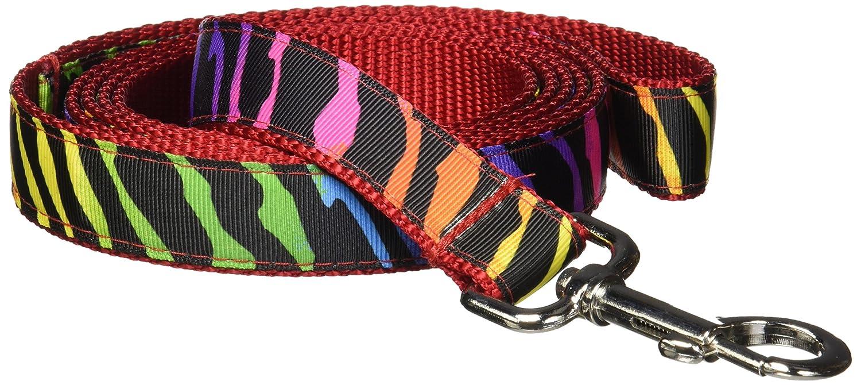 Rainbow 4) Large 1\ Rainbow 4) Large 1\ Sassy Dog Wear 6-Feet Rainbow Zebra Dog Leash, Large