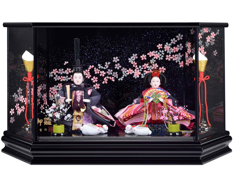 雛人形 ケース飾り ひな人形 黒塗六角ケース 親王飾り W57×D34×H33㎝ S232DZ   B07MZ8H81Y