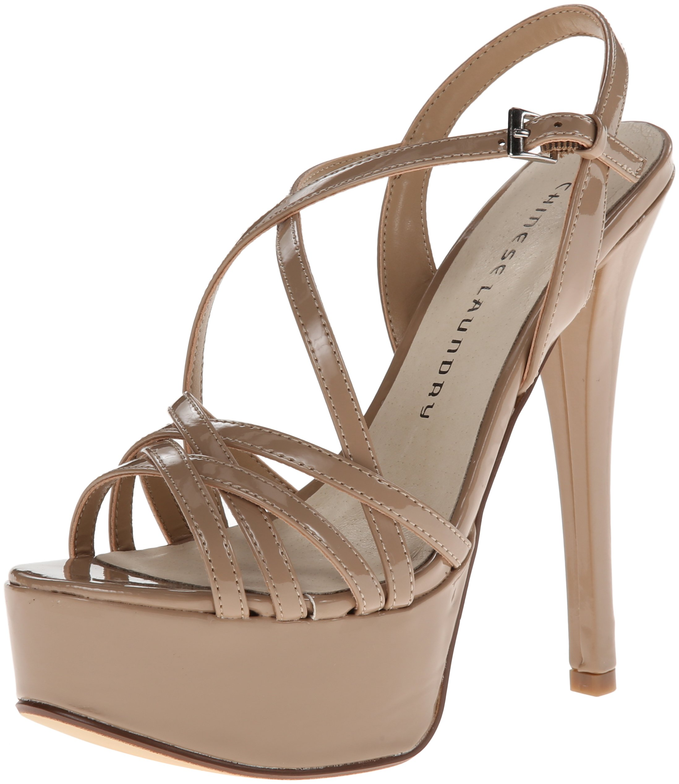 Chinese Laundry Women's Teaser Platform Dress Sandal, Nude Patent, 8 M US by Chinese Laundry