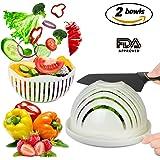 Salad Cutter Bowl, Salad Sever,Fruit Vegetable chopper,Cutter Bowlfor Salad in 60 secondsSalad Slicer Strainer Cutting Board All in One for Kitchen Picnic