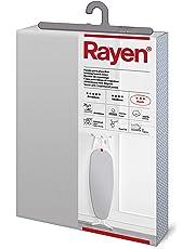 Rayen - Funda para tabla de planchar Universal (funda de planchar fácil de colocar con sistema EasyClip), 2 capas: Espuma y tejido 100% algodón. Funda con recubrimiento de aluminio. Gama Basic de Rayen. 130x47 cm, Gris Claro Metalizado