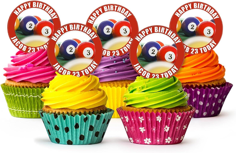 Bolas de billar Stand Up Cupcake Toppers, 12 x 5 cm ...
