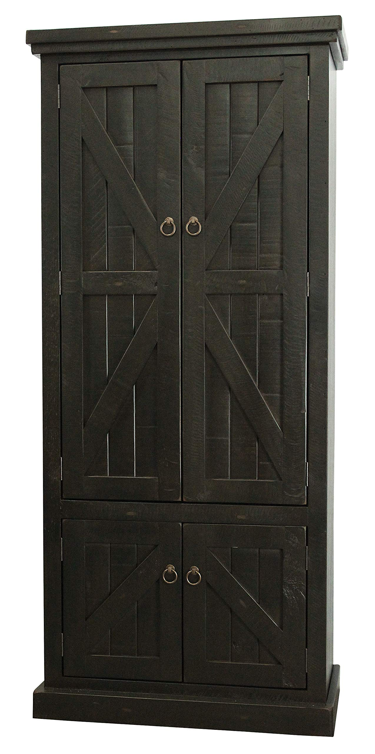 American Heartland #30791RBK Rustic Double Door Pantry, Rustic Antique Black