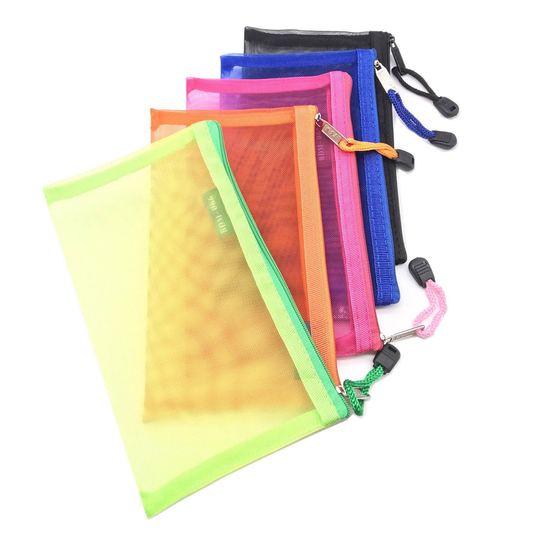 Pack of 5 pcs Multipurpose Nylon Mesh Cosmetic Bag Makeup Travel Cases Pencil Case Travel Organizers