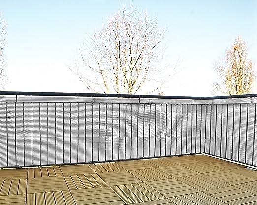 Gartenfreude Brise-Vue//cl/ôture en polyrotin /à d/écouper avec Serre-c/âbles Blanc 5 x 0,75 m