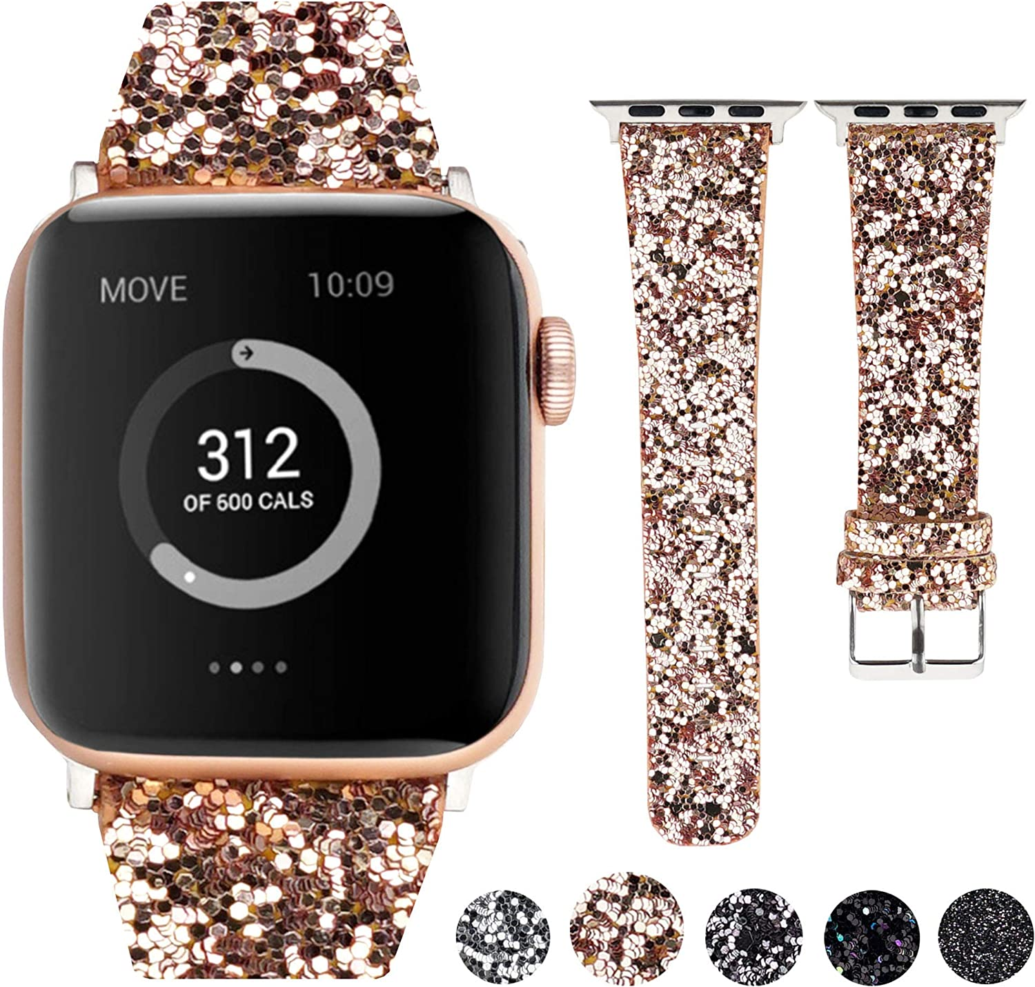 Moonooda Glitter Watch Band Compatible with Apple Watch Band 38mm 40mm 42mm 44mm, Bling Strap Women Men Wristband Replacement for iWatch Series 6 SE 5 4 3 2 1