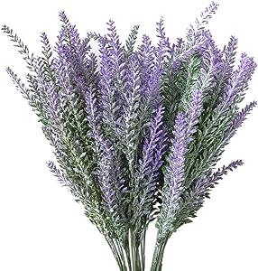 Hibery 6 Bundles Artificial Lavender Plant with Silk Lavender Flowers Lavender Bouquet for Wedding Decor, Home, Garden, Patio Decoration