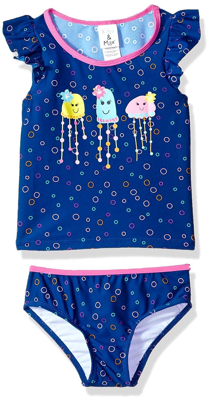 Kiko & Max Girls Suit Set with Short Sleeve Rashguard Swim Shirt