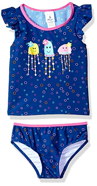 17fdd785359c6 Kiko & Max Girls' Little Suit Set with Short Sleeve Rashguard Swim Shirt,  Navy