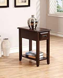 ACME Furniture Flin Side Table, Dark Cherry