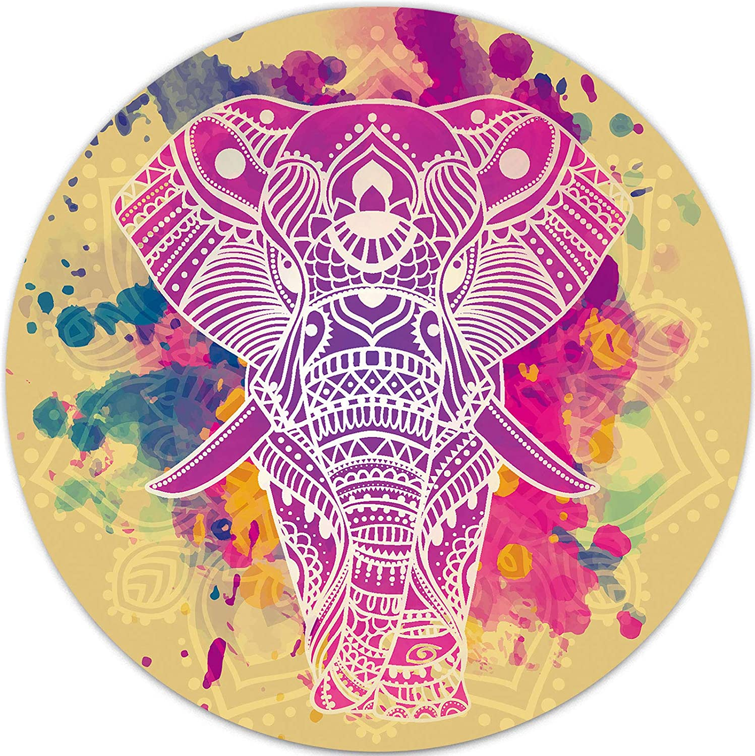 Watercolor Mandala Elephant Mouse Pad, Mini Round Non-Slip Mousepad for Kids Girls Women Laptop Computer Gaming Bussiness Travel