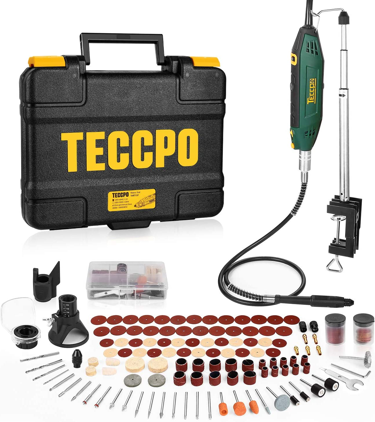 Upgraded Rotary Tool TECCPO 200W, 10000-40000RPM, 6 Variable Speed with Flex shaft, Universal Keyless Chuck, Sharpening Guide, 120 Accessories Ideal for Crafting Project and DIY