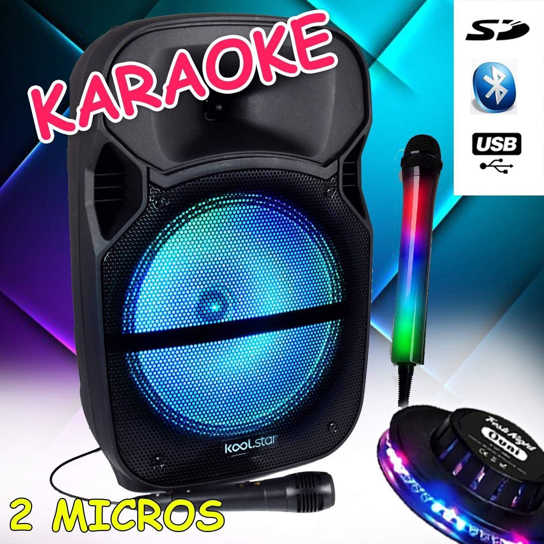 Pack de karaoke infantil 600 W Sono DJ PA móvil con LED RGB – USB ...
